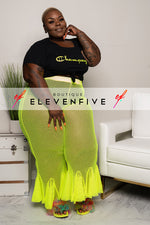 "Plus Size ""Champagne"" Inspired Crop Top - Black Neon Green"