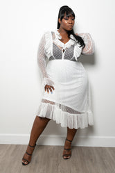 """Vintage Glam"" Mesh Lace Hi Lo Dress - White"