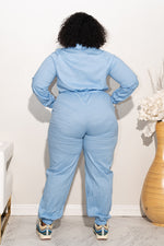 "Plus Size ""Geared Up"" Coverall Jumpsuit - Baby Blue"