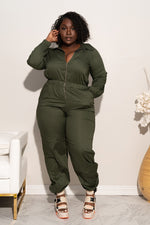 "Plus Size ""Geared Up"" Coverall Jumpsuit - Olive"