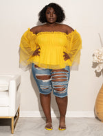 "Plus Size ""Sheer Elegance"" Off Shoulder Bell Sleeve Blouse - Yellow"