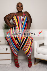 "Plus Size ""Key to My Heart"" Stripe Harem Jumpsuit - Multi Red"