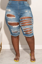 "Plus Size ""Peep Game"" Ripped Knee Jean Shorts - Denim Blue 5003p"