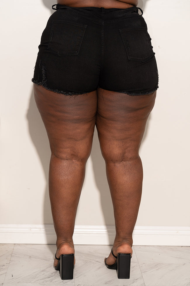 "Plus Size ""Baddie"" Ripped Jean Booty Shorts - Denim Black 5015p"