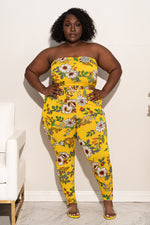 "Plus Size ""Secret Garden"" Floral Tube Jumpsuit - Yellow"