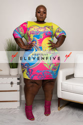 "Plus Size ""Show Stopper"" Mini Tank Dress - Multi Fuchsia Yellow"
