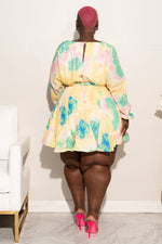 "Plus Size ""Pixie"" Floral Baby Doll Dress - Yellow Multi"