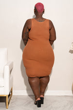 "Plus Size ""Bawdy"" Knit Dress - Copper"