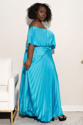 "Plus Size ""Maxed Out"" Off Shoulder Maxi Dress - Turquoise"