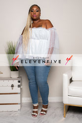 "Plus Size ""Sheer Elegance"" Off Shoulder Bell Sleeve Blouse - White"