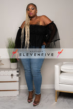 "Plus Size ""Sheer Elegance"" Off Shoulder Bell Sleeve Blouse - Black"