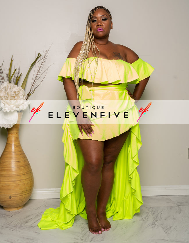 "Plus Size ""Throw it in the Air Sunshine"" 2 Piece Ruffle Mini Set - Neon Green"