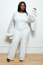 "Plus Size ""LaBelle"" Lace Bell Sleeve Jumpsuit - White"