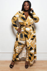 "Plus Size ""Lady In Charge"" 2 Piece Pant and Duster Set - White Black Gold"