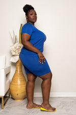 "Plus Size ""Get It Shawty"" Short Set - Royal Blue"