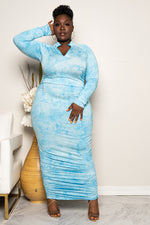 "Plus Size ""Thunder Storm"" Ruched Maxi - Baby Blue White"