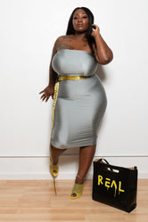 "Plus Size ""Blackout"" Slinky Tube Dress - Silver Gray"