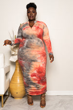 "Plus Size ""Thunder Storm"" Ruched Maxi - Rust Gray"