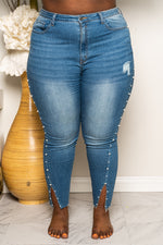 "Plus Size 'String of Pearls"" Denim Jeans - Medium Blue 1223p"
