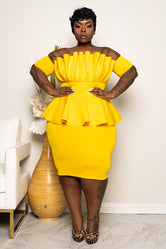"Plus Size ""Katlyn"" Ruched Peplum Dress - Yellow"