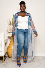 "Plus Size ""Denim Streets"" Button Up Denim Organza Cardigan Dress- White"