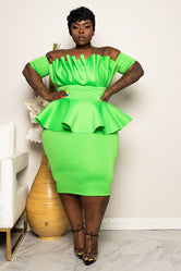 "Plus Size ""Katlyn"" Ruched Peplum Dress - Lime Green"