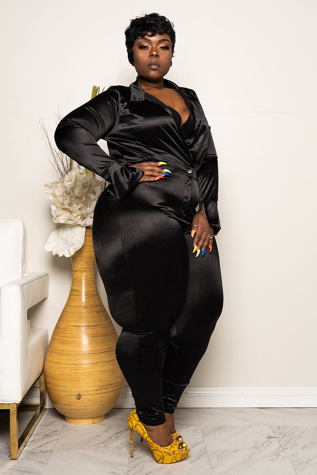 "Plus Size ""Ready For The World"" Pant Set - Black Power"