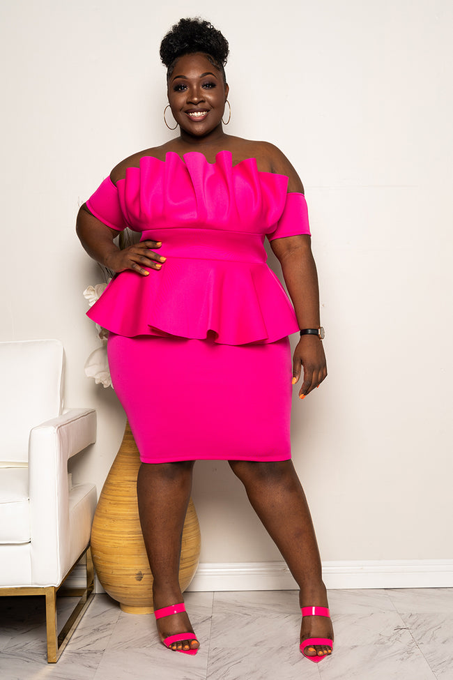 "Plus Size ""Katlyn"" Ruched Peplum Dress - Fuchsia"