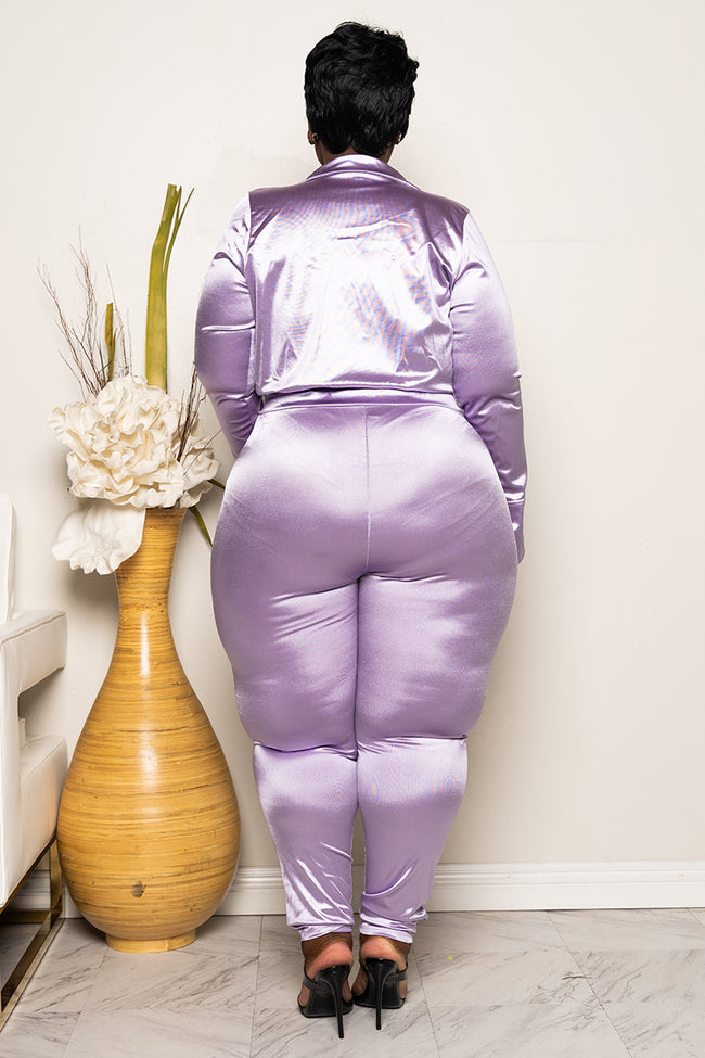 "Plus Size ""Ready For The World"" Pant Set - Lovely Lavender"
