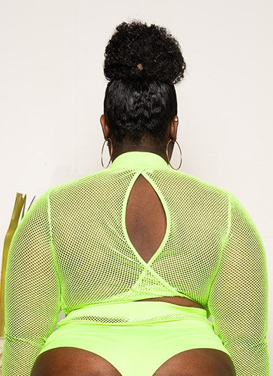 "Plus Size ""Read Between The Line"" Swimsuit Set - Lime Green"