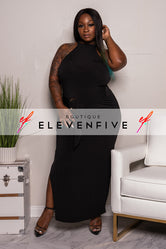 "Plus Size ""Passion"" Mock Neck Gown - Black"