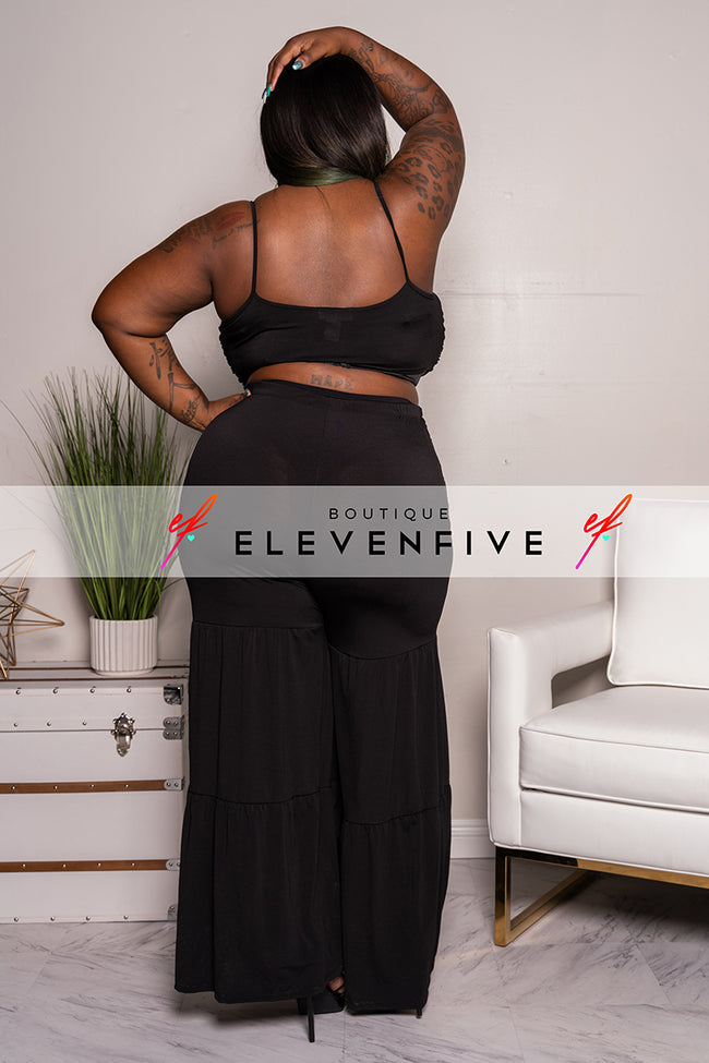 "Plus Size ""Million Dollar Baby"" Pant Set - Black"