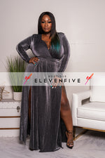 "Plus Size ""Next Level"" Lurex Double Split Maxi Dress - Gunmetal Black"