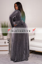 "Plus Size ""Next Level"" Lurex Double Split Maxi Dress - Blush Pink"