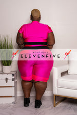 "Plus Size ""Keep It 100"" Biker Set - Fuchsia Hot Pink"