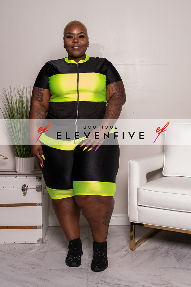 "Plus Size ""Keep It 100"" Biker Set - Black Neon Green"