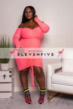 "Plus Size ""Gathering My Thoughts"" Ruched Dress - Flamingo Pink"