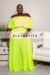 "Plus Size ""Maxed Out"" Off Shoulder Maxi Dress - Neon Green"