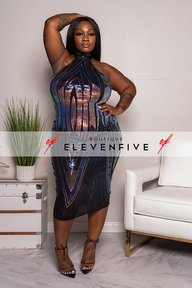 "Plus Size ""She Rules The Universe"" Sequin Halter Dress - Purple Black"