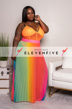 "Plus SIze ""Self Love"" Mesh Bodysuit - Neon Orange"