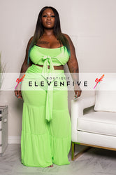 "Plus Size ""Million Dollar Baby"" Pant Set - Lime"