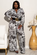 "Plus Size ""Read All About Me"" Wide Leg Jumpsuit - Black White"