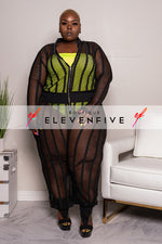 "Plus Size ""Cover Me"" Fishnet Cover Up Jumpsuit - Black"