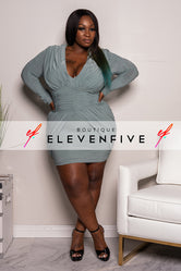 "Plus Size ""And The Winner Is"" Ruched Party Dress- Sage"