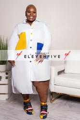 "Plus Size ""Super Girl"" Oversized Tunic Shirt Dress - White yellow Blue"