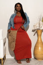Plus Size Basic Racerback Maxi Dress - Rust