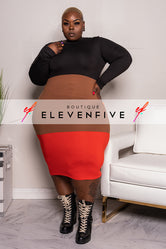 "Plus Size ""Alter Ego"" Colorblock Midi Dress - Black Brown Tomato Red"