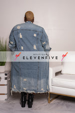 "Plus Size ""Illest"" Denim Maxi Jean Coat - Medium Blue"