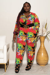 "Plus Size ""Work of Art"" Jumpsuit - Multi Red Green"