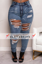 "Plus Size ""Rude Girl"" Ripped High Waist Denim Jeans - Blue 1048p"